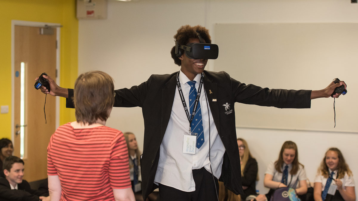 Student trying out virtual reality