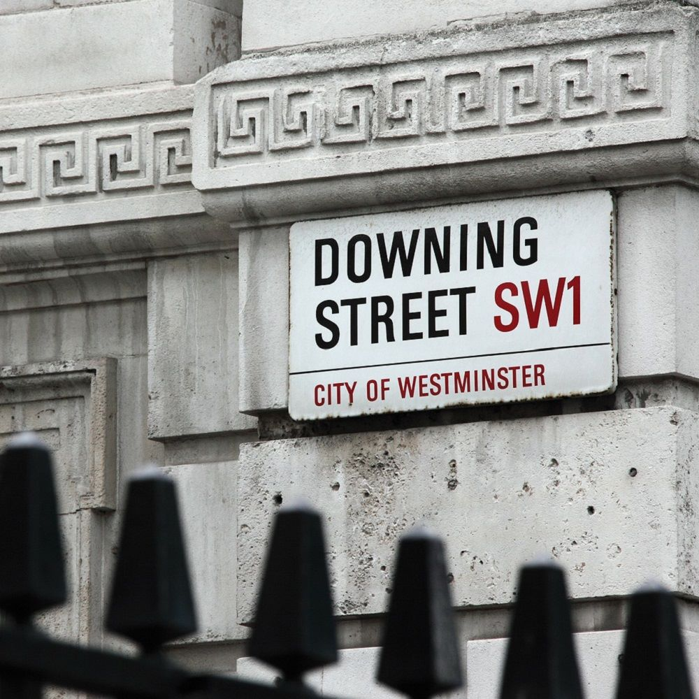 Photograph of the street sign for Downing Street
