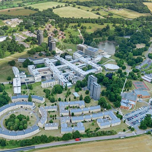 Aerial shot of the University of Essex's Colchester Campus