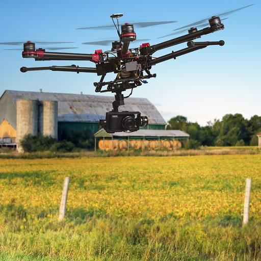 A drone flying over a field