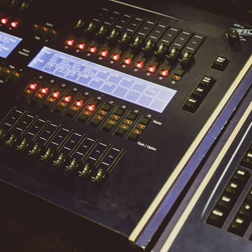 Mixer and fader sound equipment in the studio