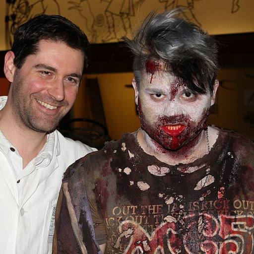 Edward Codling stood with actor dressed as zombie