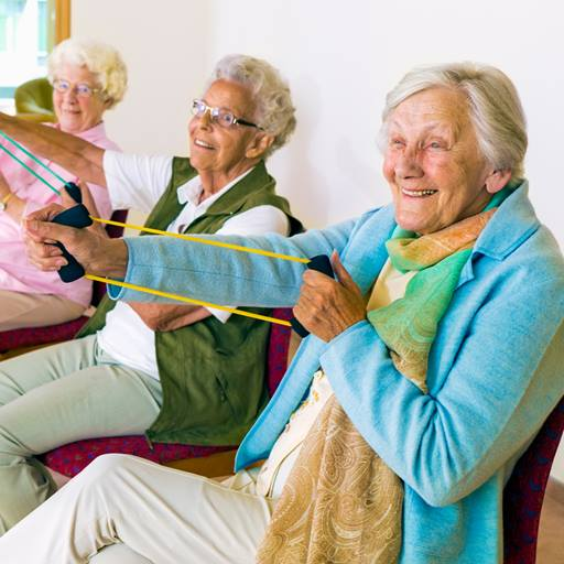 elderly women exercising