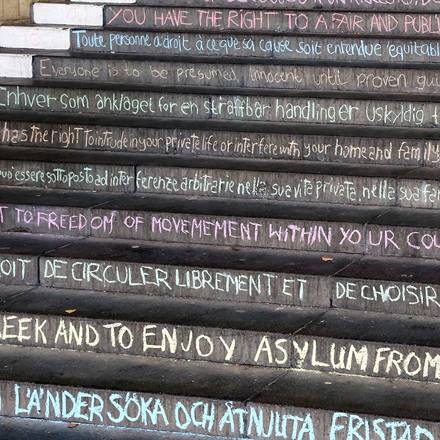 University steps chalked with human rights declaration