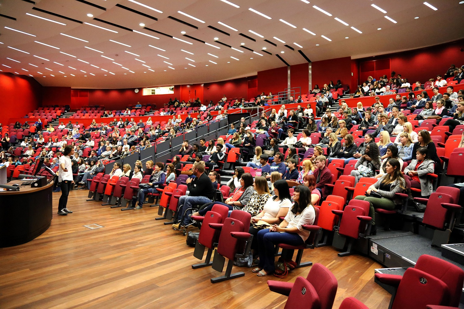 Student audience attending a seminar in the Ivor Crewe Lecture Hall