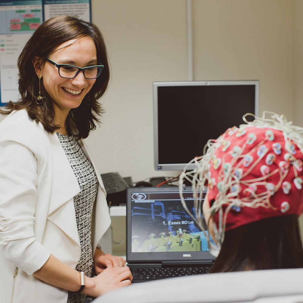 An experiment being carried out in the Brain-Computer Interfaces lab