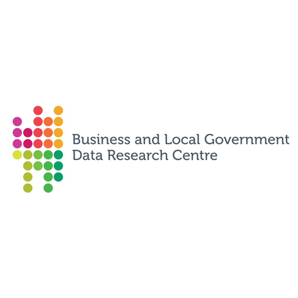 "This logo consists of a pattern of pink, red, yellow and green dots on the left side, and the words ""Business and Local Government Data Research Centre"" on the right."