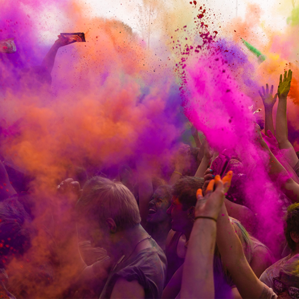 Students celebrating the holi festival