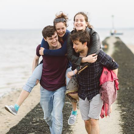 Group of students on Southend beach
