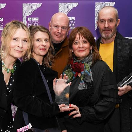 From left: Karen Rose (producer), Elizabeth Kuti, Philip Selway (composer), Jo McInnes (Director), and Stephen Dillane with their BBC awards for Sea Longing