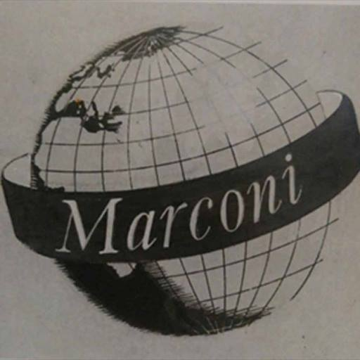 Old Marconi logo depicting a globe with the word 'Marconi' written on a banner around the centre
