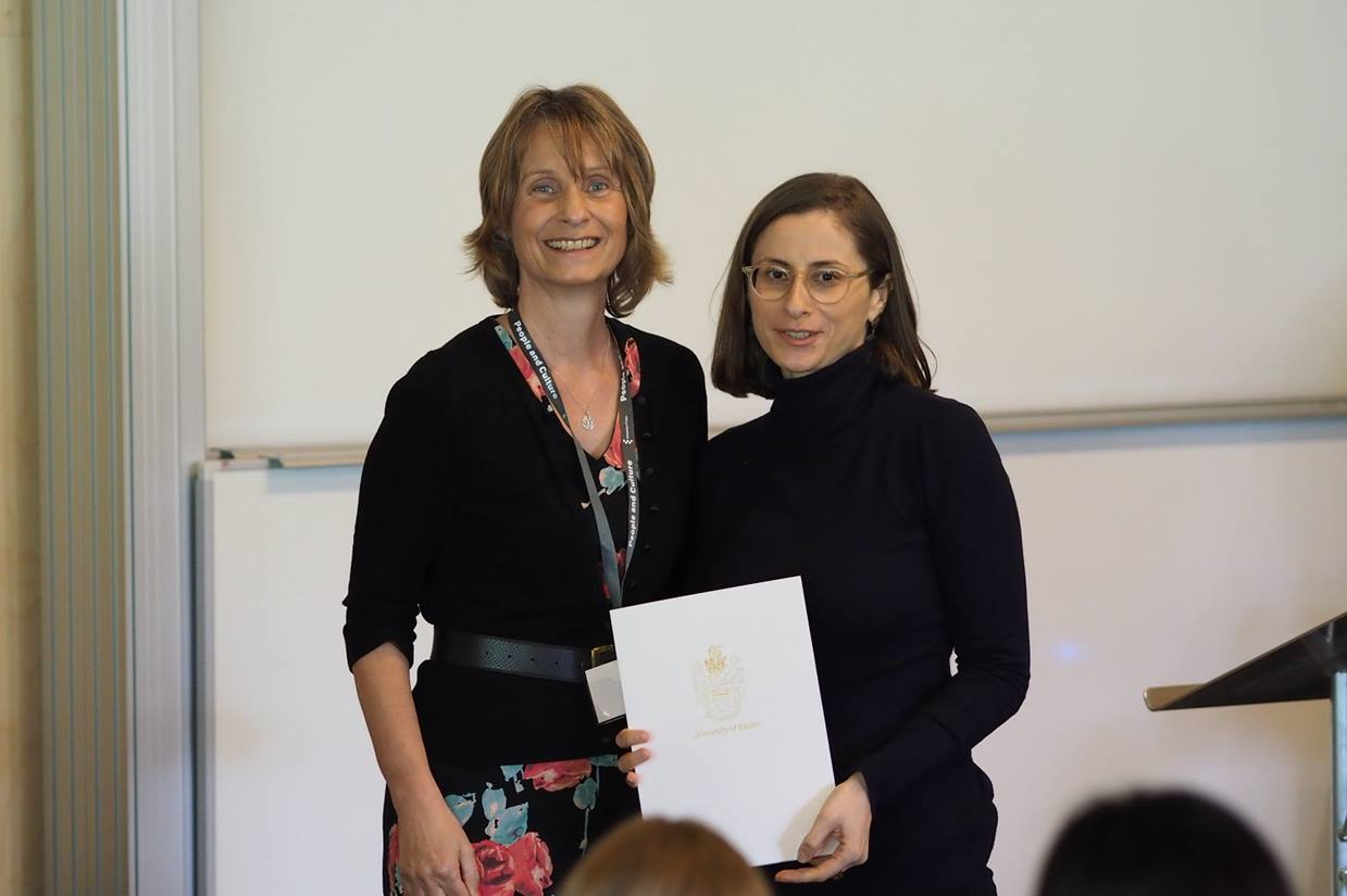 Marianna Marra accepting her Excellent Educator Award at the University of Essex Excellence in Education Awards 2019