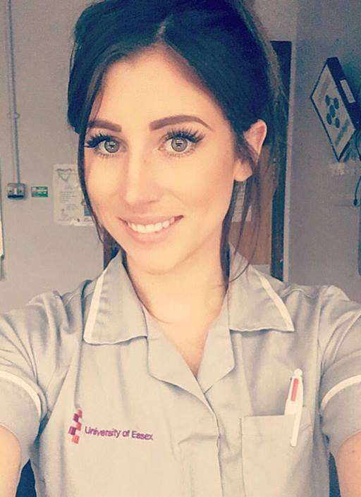 Head and shoulders of Chelsea Hobbs (student nurse at the University of Essex) in her uniform.
