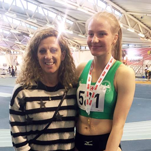 Rebecca Jeggo meets Sally Gunnell after winning gold