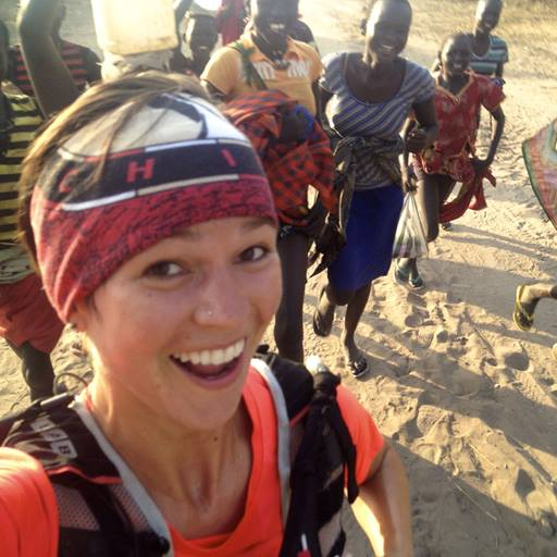 Stephanie Case running in South Sudan with women