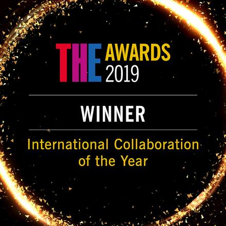 Logo for THE Awards 2019 Winner International Collaboration of the Year