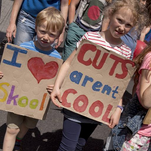 Picture of children protesting against school cuts