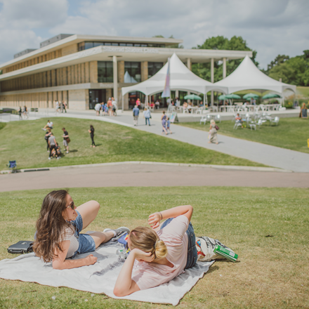 Students on the hill at the University of Essex Colchester Campus