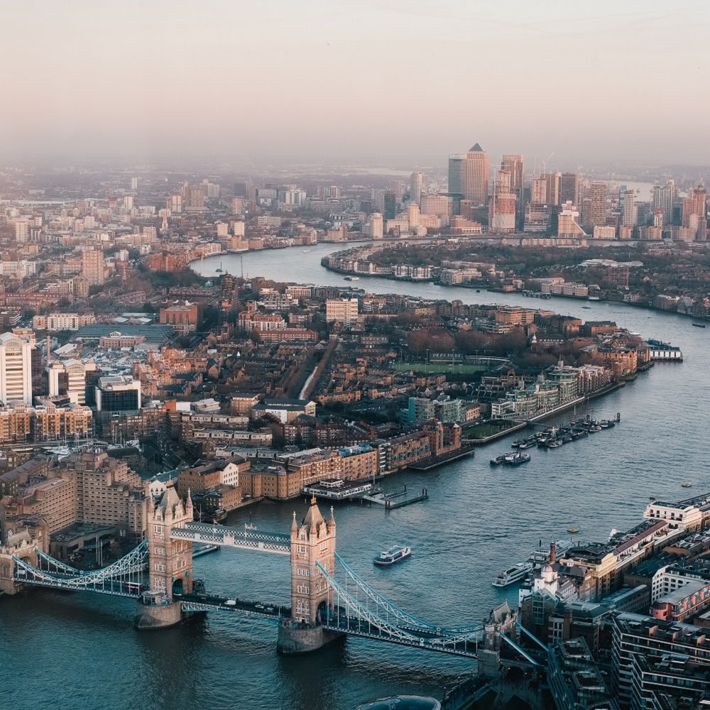 A photograph of the river Thames and the city of London