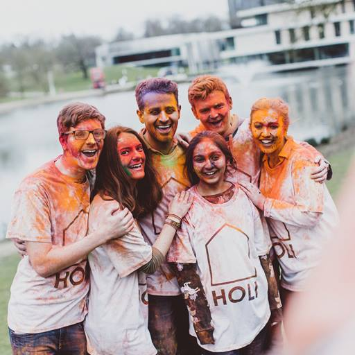 Students after holi-paint festival