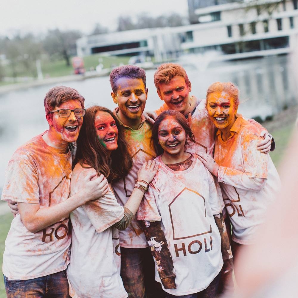 Students at holi-paint festival