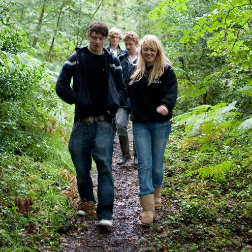 teenagers in woods