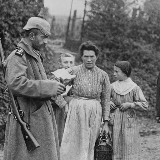 German soldier inspects documents of women in occupied France, First World War