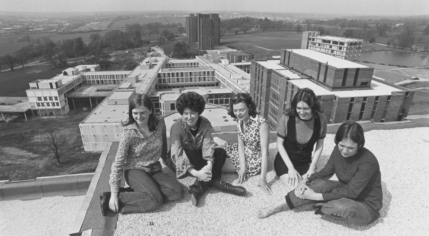 Students on top of one of the Towers in 1970