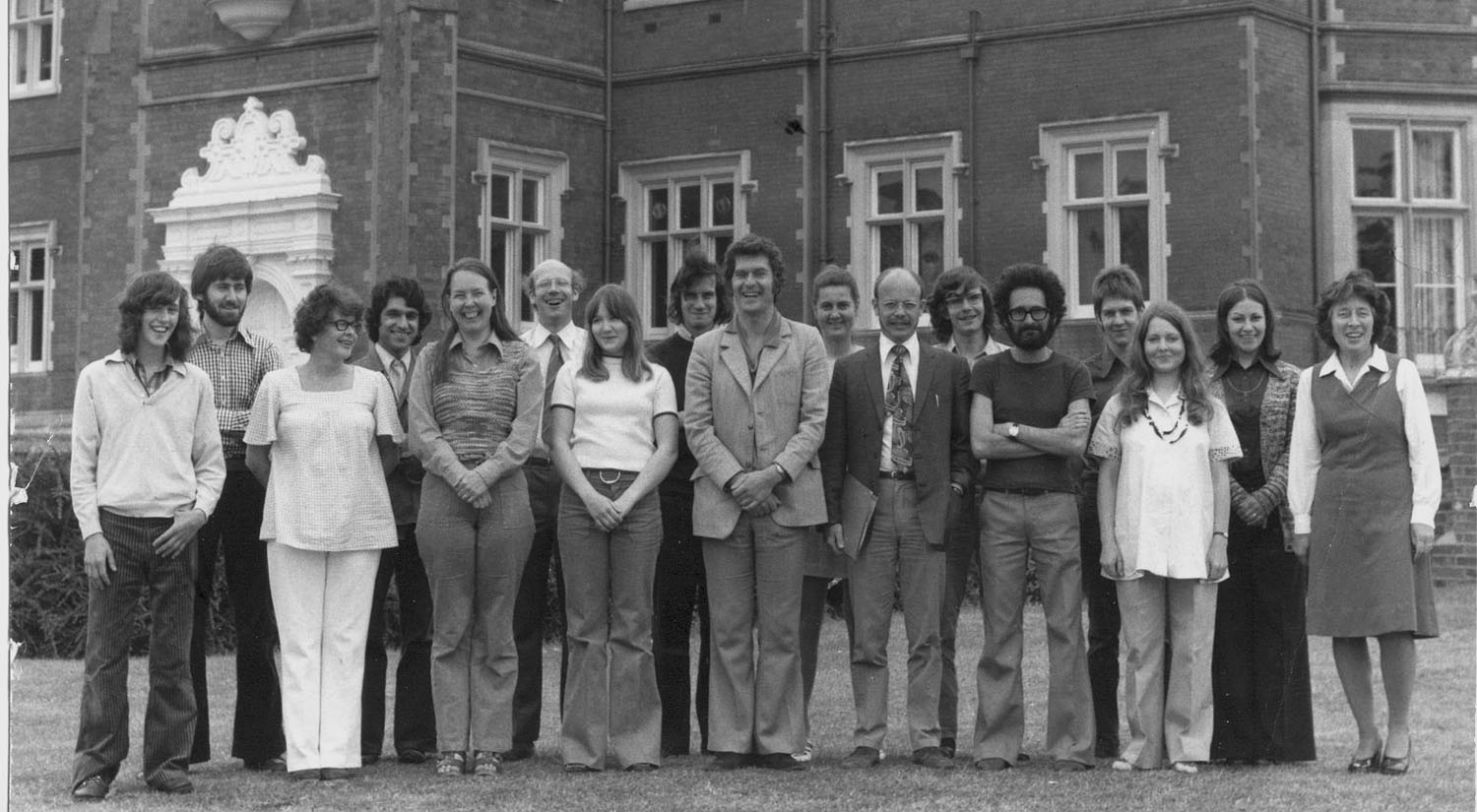 Biology staff in front Wivenhoe House during late 1960s