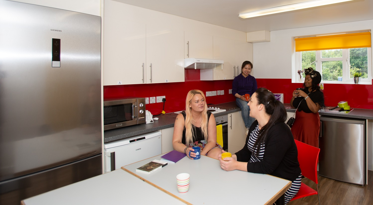Group of students socialising in a South Courts accommodation kitchen