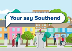 Cartoon image of a town, text in the middle of the image says, Your say Southend