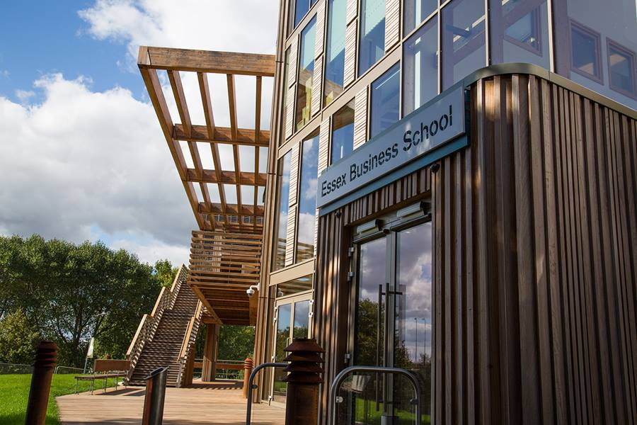 Our home in Colchester: the Essex Business School building in Colchester is the UK's first zero-carbon business school building and houses our Accounting, Finance and Management and Marketing groups as well as over 2000 staff and students.
