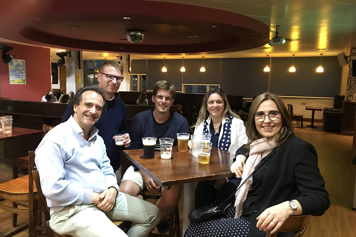 The organisers enjoying a well deserved pint after the EFiC 2019 Conference in Banking and Corporate Finance.
