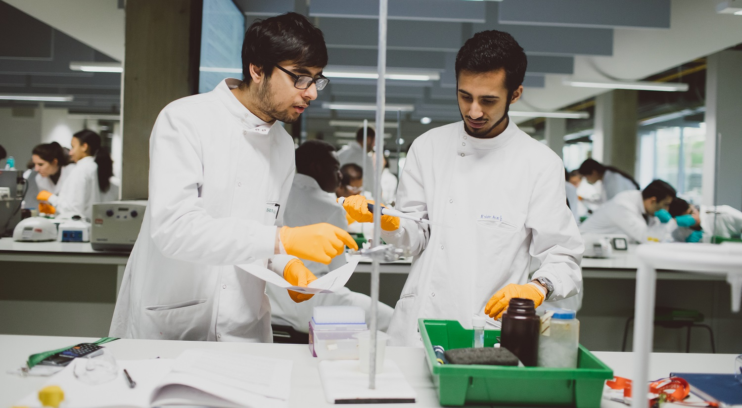 Two male students in white lab coats wearing yellow gloves. One holds a large pipette in his right hand, the other is holding a piece of paper and pointing towards something on the lab bench in front of them. A green plastic tray with bottles and jars is in the foreground.