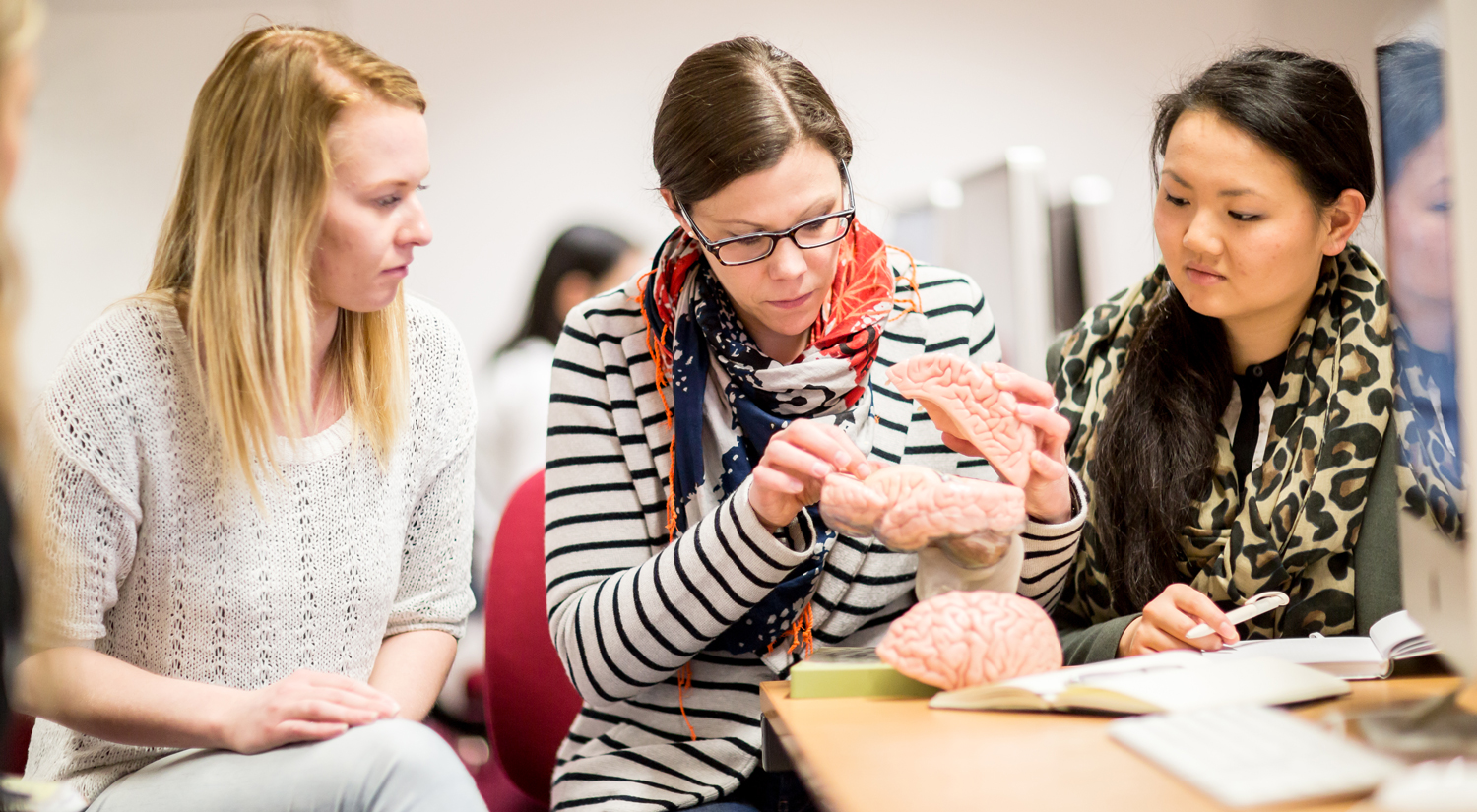 Professor Silke Paulmann from the Department of Psychology is sitting in the middle of the shot with a plastic model of the human brain which is partially taken apart. A student is sitting either side of her, looking at something she is pointing at on the model.