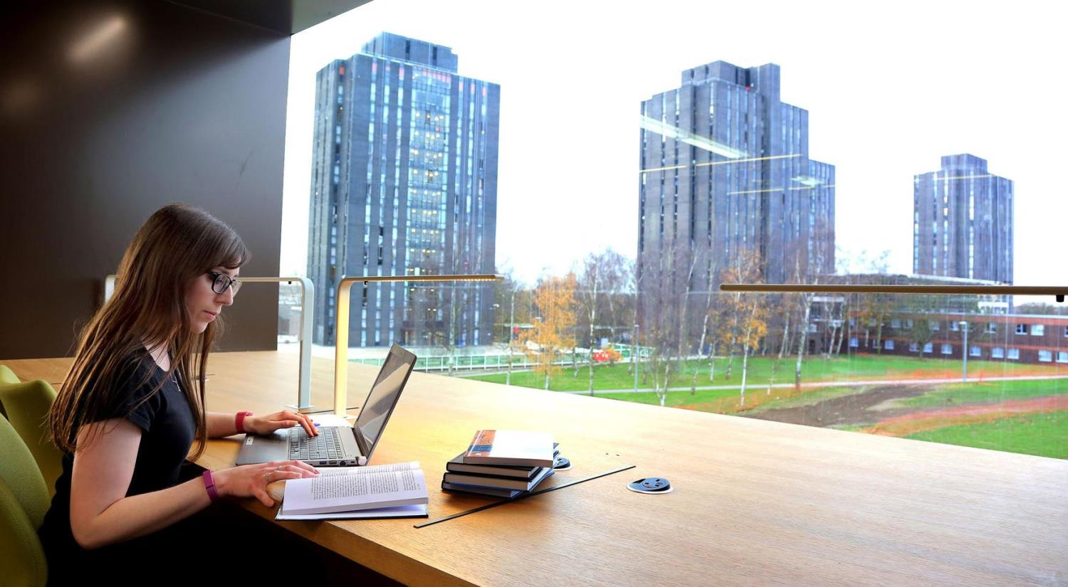 Enjoy beautiful views of campus from your desk