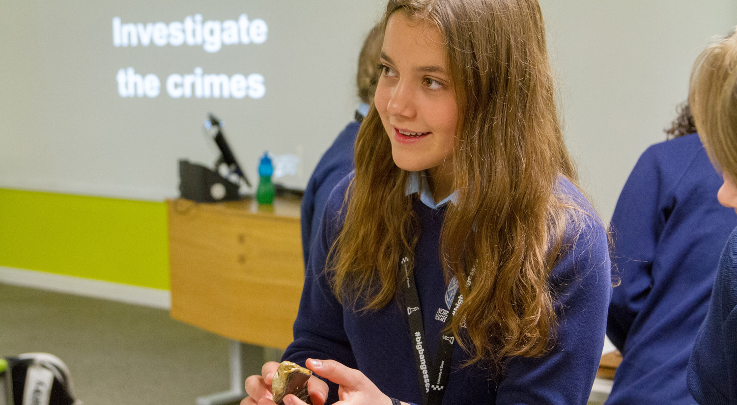 A Northgate High School student enjoys a theft investigation workshop with The Detective Project