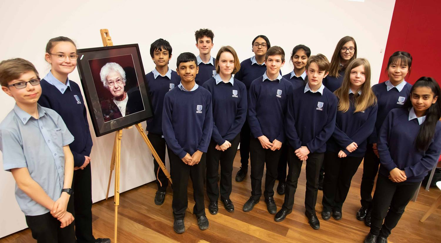 Dora Love Prize 2020 runners-up, Northgate High School with a portrait of Dora Love