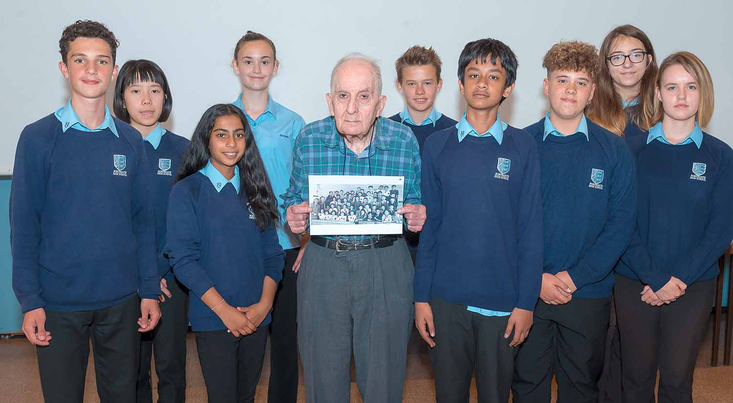 Frank Bright with pupils from Northgate High School