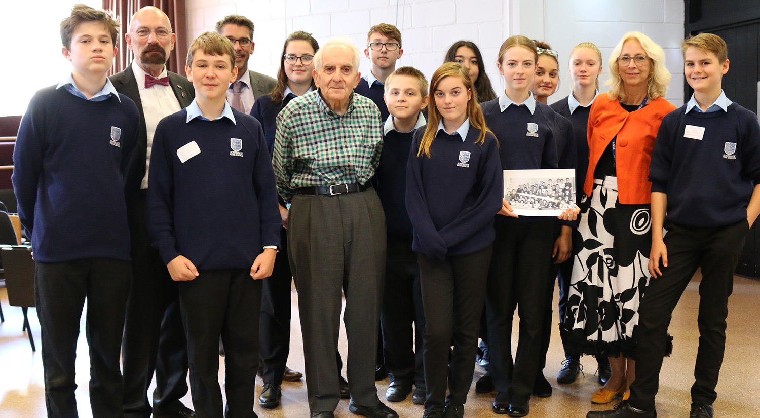 Students from Northgate High School with Holocaust survivor Frank Bright