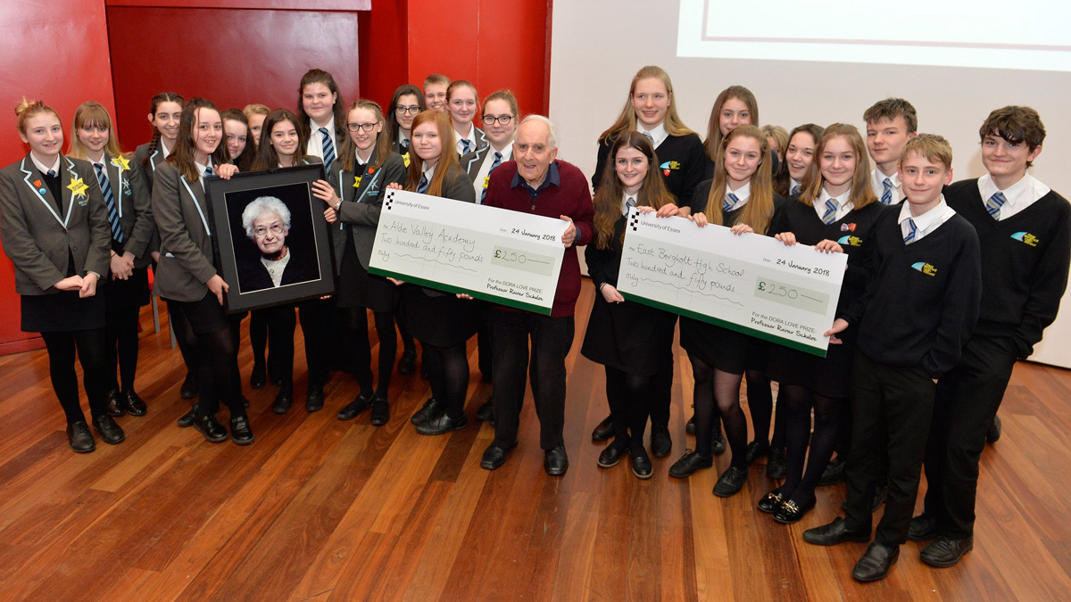 Students from East Bergholt High School and Alde Valley Academy with Frank Bright)