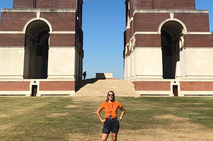 Olivia Smith on her first day at the Thiepval Memorial