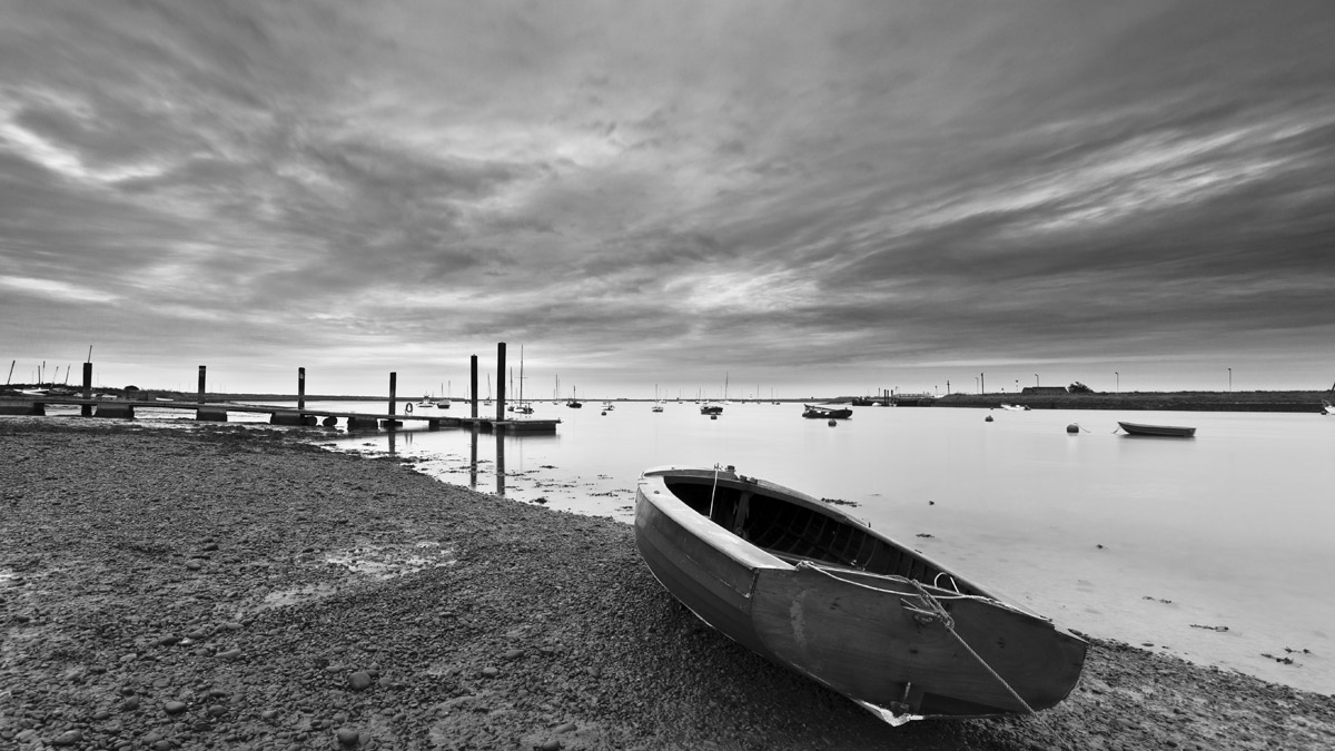 Orford Quay with Orford Ness in the background)