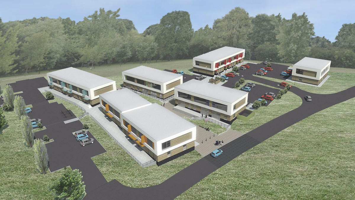 Artist's impression of Parkside Office Village after phase two is complete)