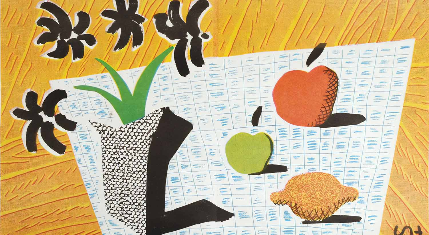 Two Apples and One Lemon and Four Flowers by David Hockney, lithograph, 1997