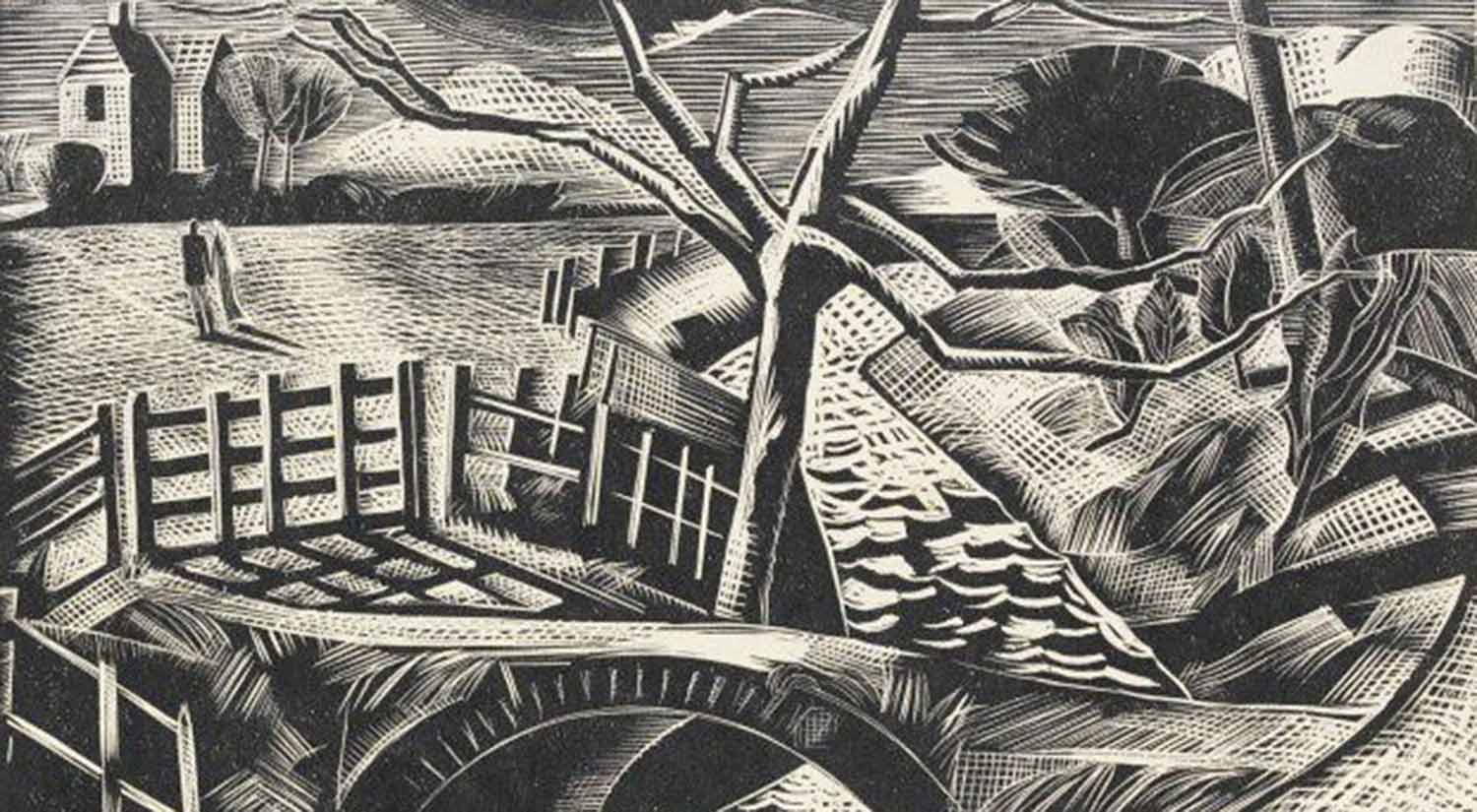 Dyke by the Road, by Paul Nash, wood engraving, 1922