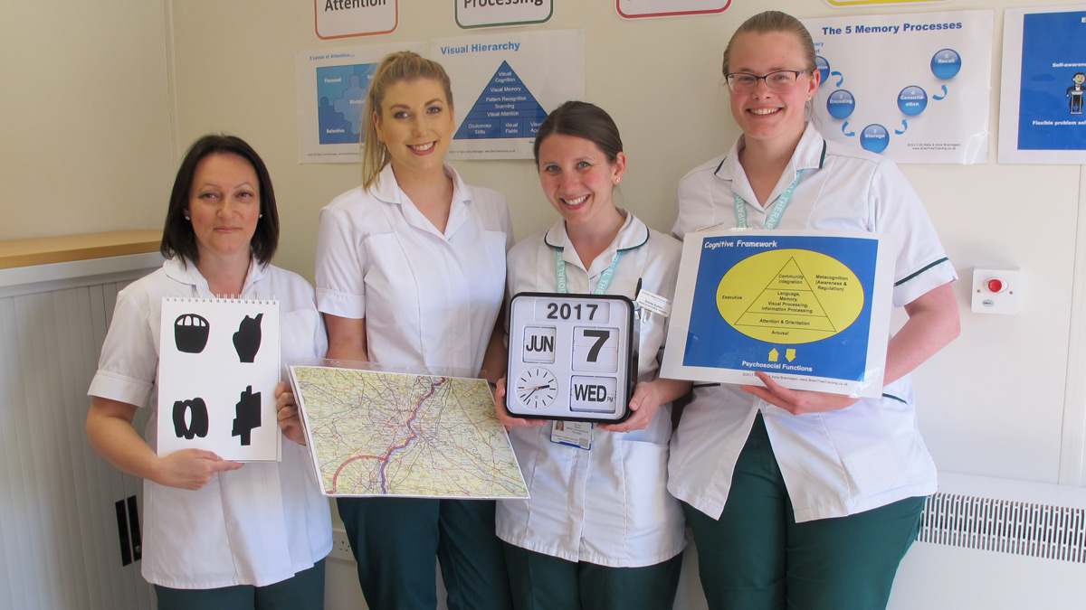 Occupational therapy students Lisa Allsop and Doreen Fitzgerald with senior occupational therapists Emma Sutton and Carrie Hunt)