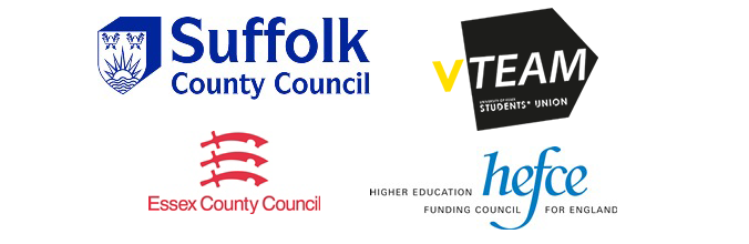 Logos of Essex County Council, Suffolk County Council, HEFCE, CCVS, ESRC Business and Local Government Data Research Centre and VTeam