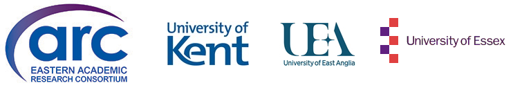 Logos of Eastern Arc, University of Kent, University of East Anglia, University of Essex