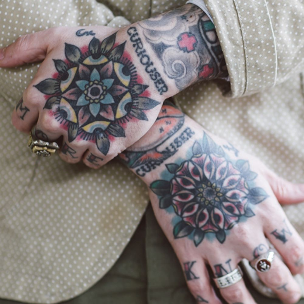 Close-up of tattooed hands
